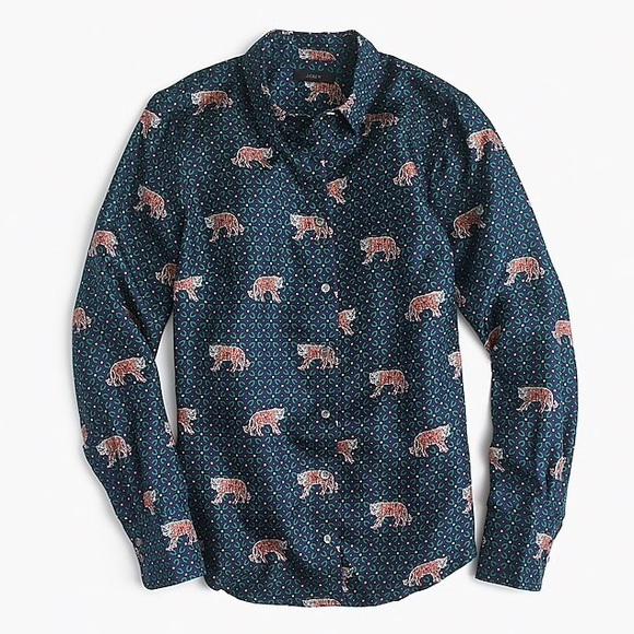 9efd99758dfd8 J. Crew Tops - J. Crew Silk Twill Button-Up in Tiger Print